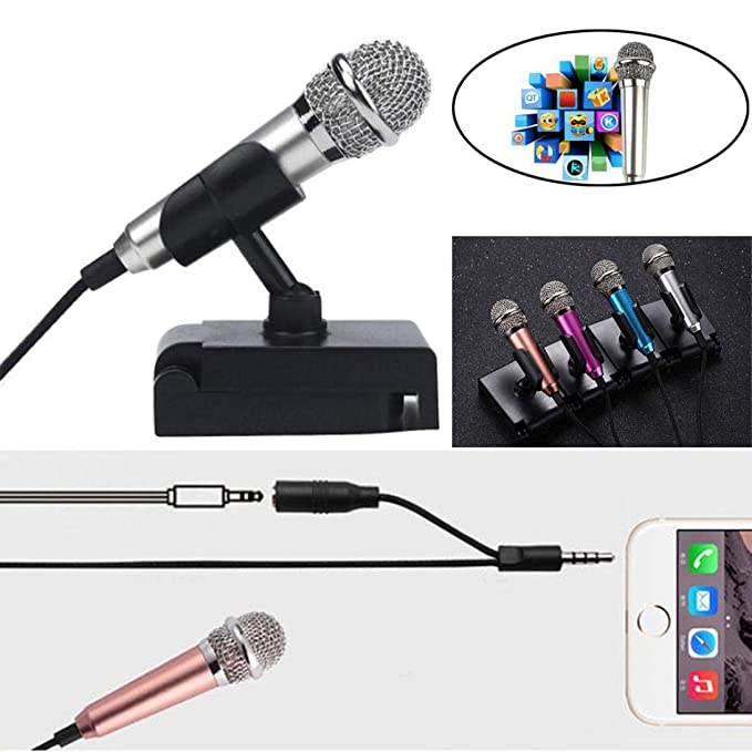 CALISTOUK Mini 3.5mm Microphone Mic Mobile Phone Laptop MSN Karaoke Wired for Android IOS Rose gold