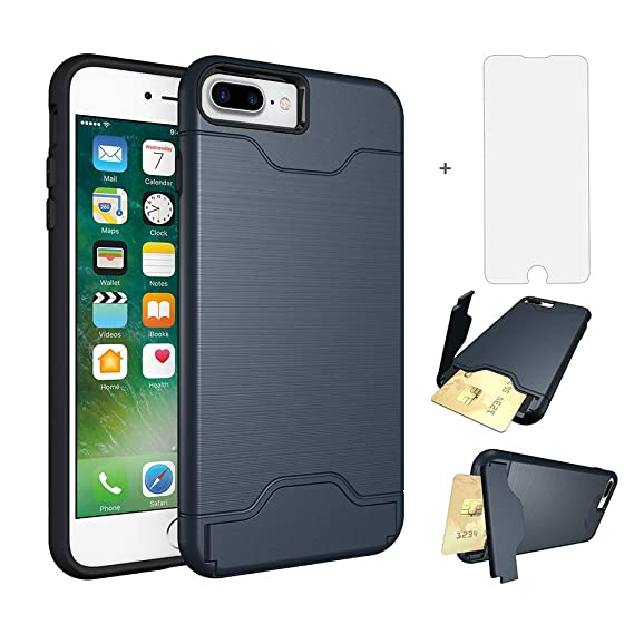iPhone 7 plus 8 plus Case i Phone Cases Wallet with Tempered Glass Screen  Protector c951021e5