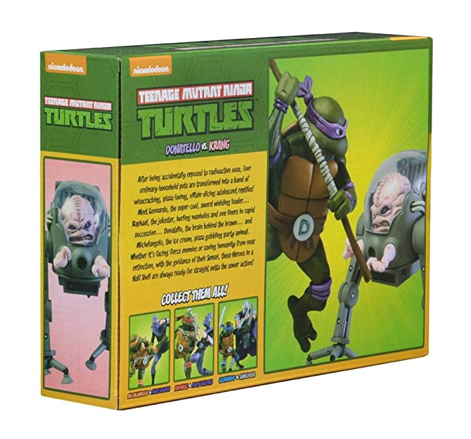 NECA Pack 2 Figuras Donatello vs Krang in Bubble Walker 18 ...