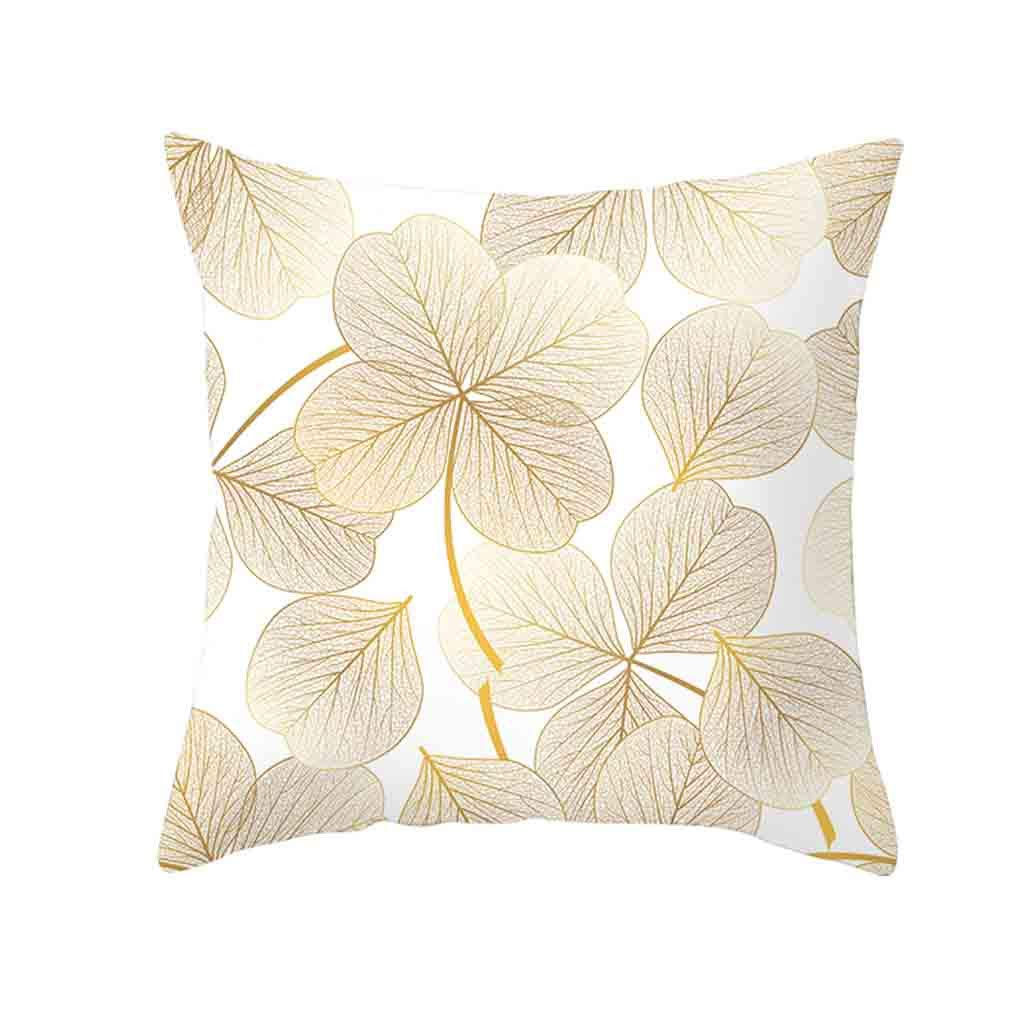 Pet1997 Golden Leaf Hug Pillowcase, Gold Plant Printed Polyester Pillow Case Cover, Sofa Cushion Cover, Home Decor, Luxury Bedding,18 X18 Inch (K)
