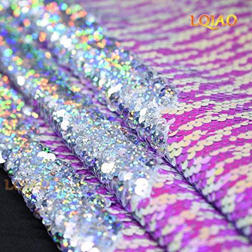 LQIAO Reversible Sequin Fabric by The Yard Two Tone Fish Scale Flip Up Mermaid Fabric Sewing for Evening Dresses Wedding Decoration DIY Craft- Dot Pink White Laser Silver