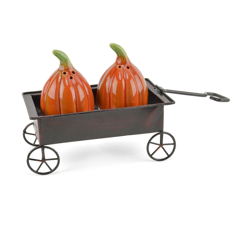Creative Co-Op Pumpkin Wagon 3-piece Salt & Pepper Shaker Set CF0809