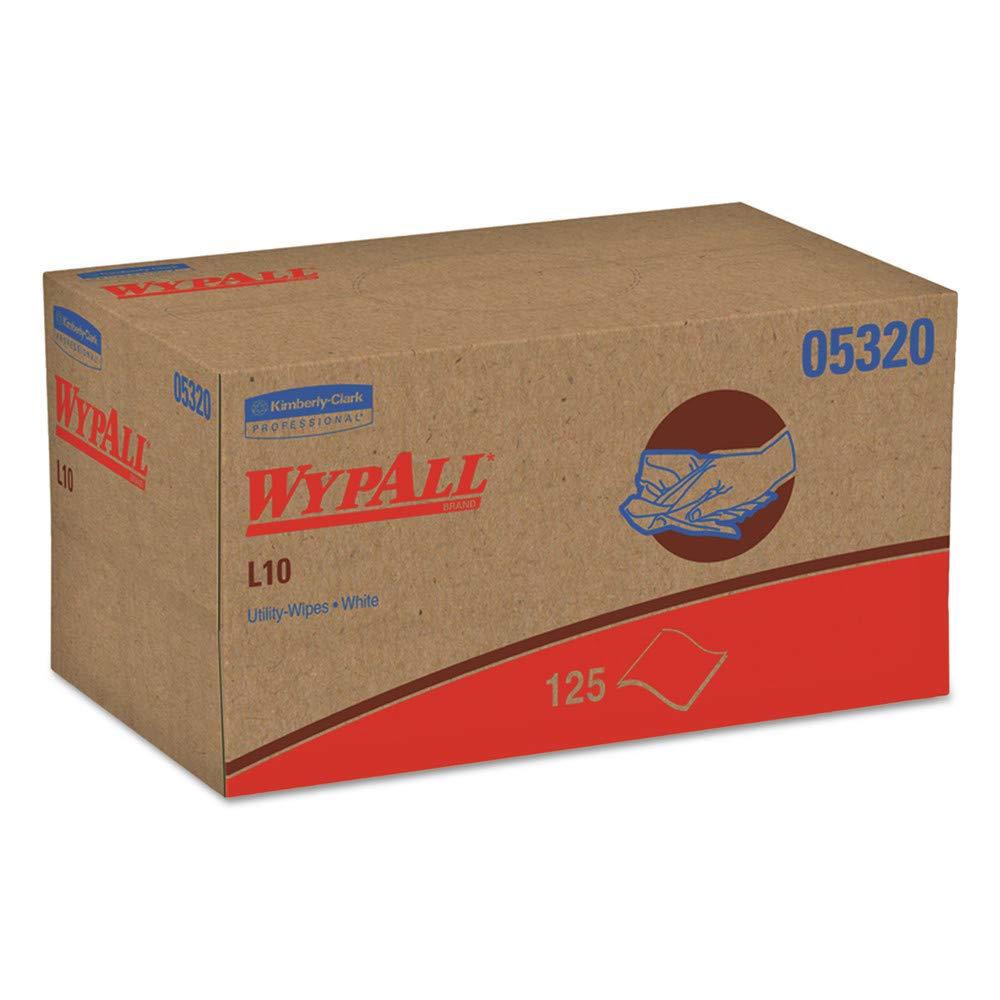 WypAll 05320 L10 Utility Wipes, Pop-Up Box, 1ply, 9 X 10 1/2, White, 125/box, 18 Boxes/carton