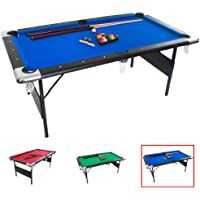 GSE Games & Sports Expert 6-Ft Deluxe Folding Billiard Pool Table with Set of Pool Balls, 2 Pool Cues, And Accessories (Multiple Colors Available)