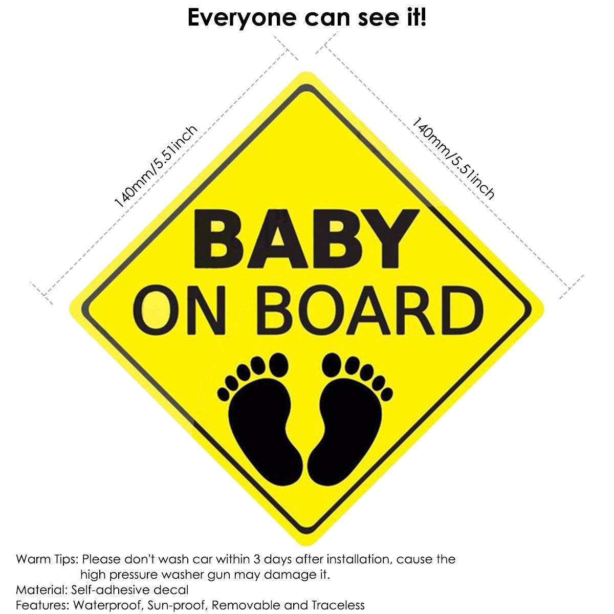Pattern : 2pcs Footprints Baby ON Board Car Caution Stickers Decals Waterproof Self-Adhesive Car Safety Sign Stickers