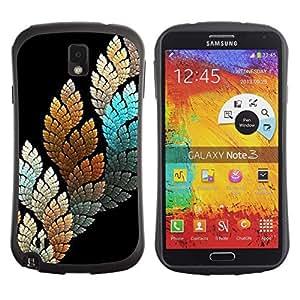 Paccase / Suave TPU GEL Caso Carcasa de Protección Funda para - Black Teal Nature Leaf - Samsung Note 3 N9000 N9002 N9005