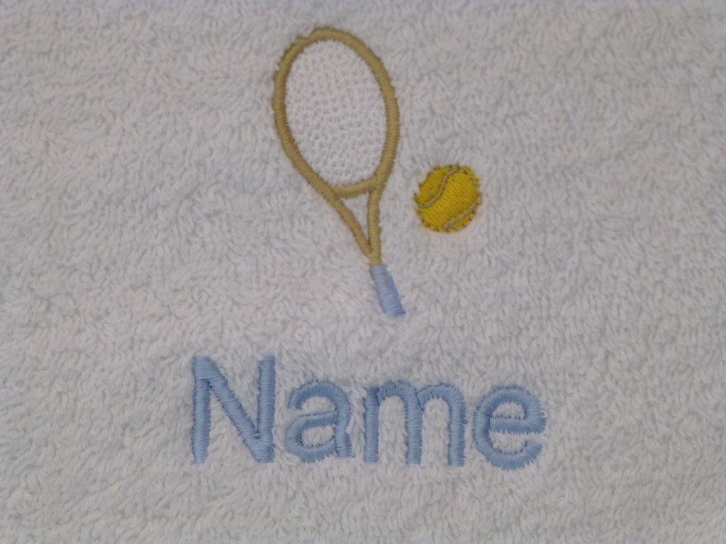 Toalla de baño con mujer y niña para tenis Logo y nombre de cada tu elección (por favor envíanos un mensaje con sistema toalla color, para el nombre y la ...
