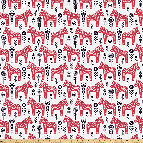 Ambesonne Ethnic Fabric by The Yard, Folk Inspired Swedish Dala Horse with Floral Ornaments Folklore Art, Microfiber Fabric for Arts and Crafts Textiles & Decor, 1 Yard, Dark Coral Indigo and White from Ambesonne