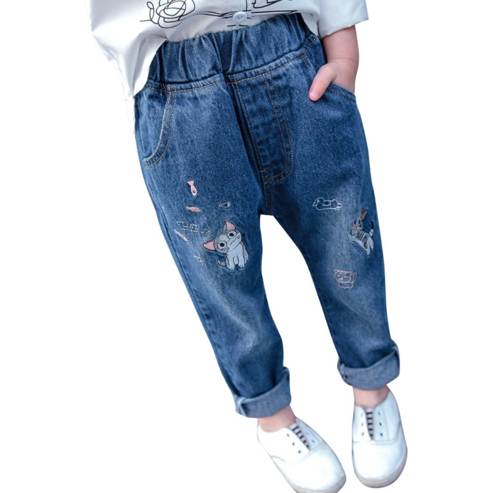 Loveble Jeans Denim Pants Embroidered Cute Cat Elasticated Waist Relaxed Fit Regular Fit for Kids Girls High Waist 2-8 Years