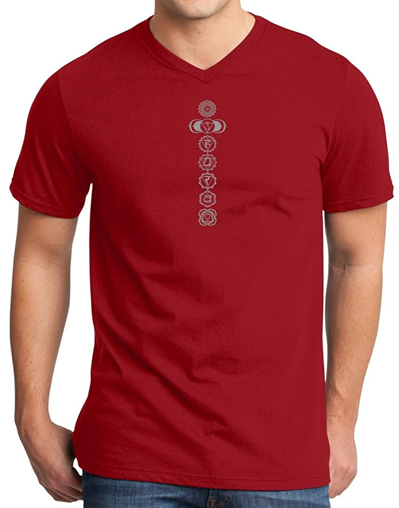 Yoga Clothing For You Mens 7 Chakras 100% Cotton V-neck Red Tee 7CHAK-DT6500-RED