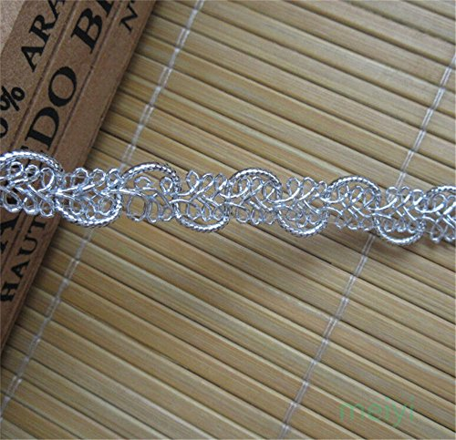 10 Meters Silver Nylon Lace Edge Trim Ribbon 1.2 cm Width Vintage Style Edging Trimmings Fabric Embroidered Applique Sewing Craft Wedding Bridal Dress Embellishment DIY Party Cards Clothes Embroidery