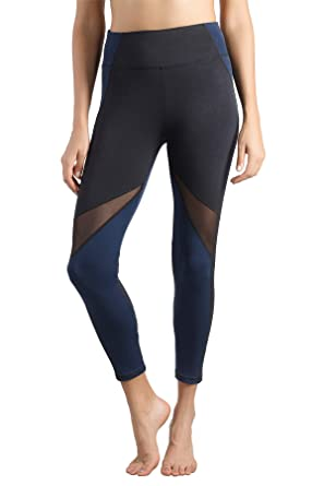 3f5672e44a6db3 Lin Women's Mesh Yoga Pants High Waist Workout Leggings Ankle Length Running  Tights Navy
