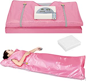 Lofan Portable Infrared Sauna Blanket, Digital Far-Infrared Heat Sauna Blanket 2 Zone, Personal Sauna for Relaxation at Home with 50 Packs Plastic Sheeting for Body Wrap,2020 Upgraded Version, Pink