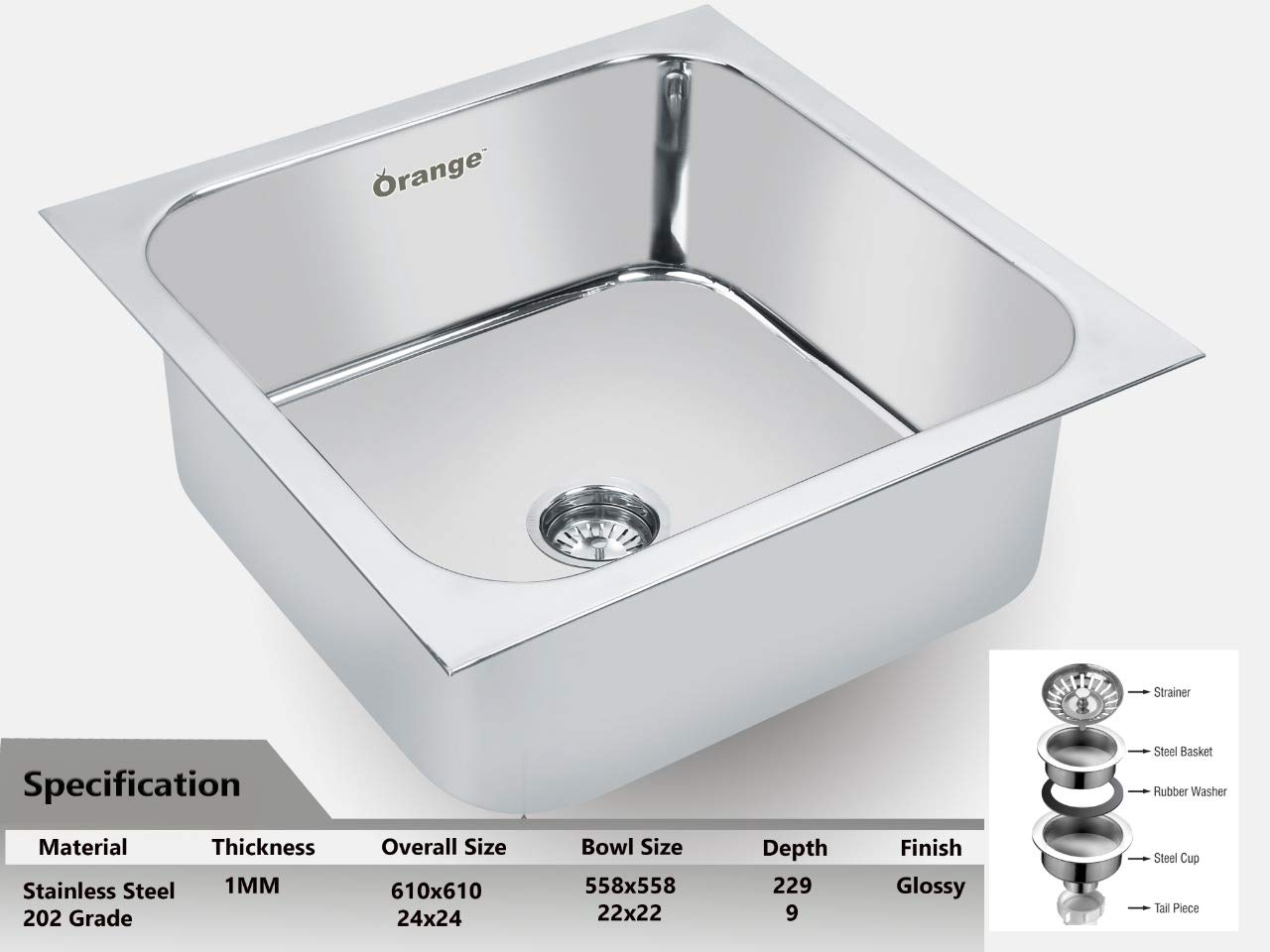 Orange Stainless Steel Under Mount Single Bowl Kitchen Sink 24x24x9 Inches Silver Amazon In Home Improvement