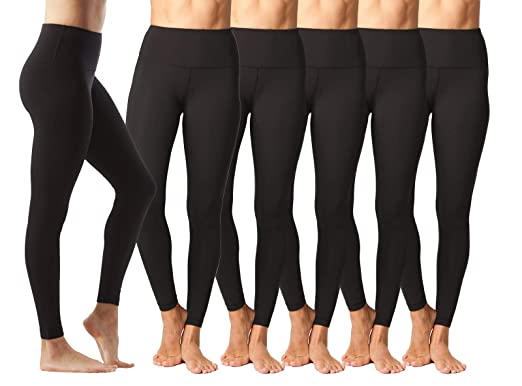 28b3023320cf Yogalicious High Waist Ultra Soft Lightweight Leggings - High Rise Yoga  Pants - Black 6 Pack