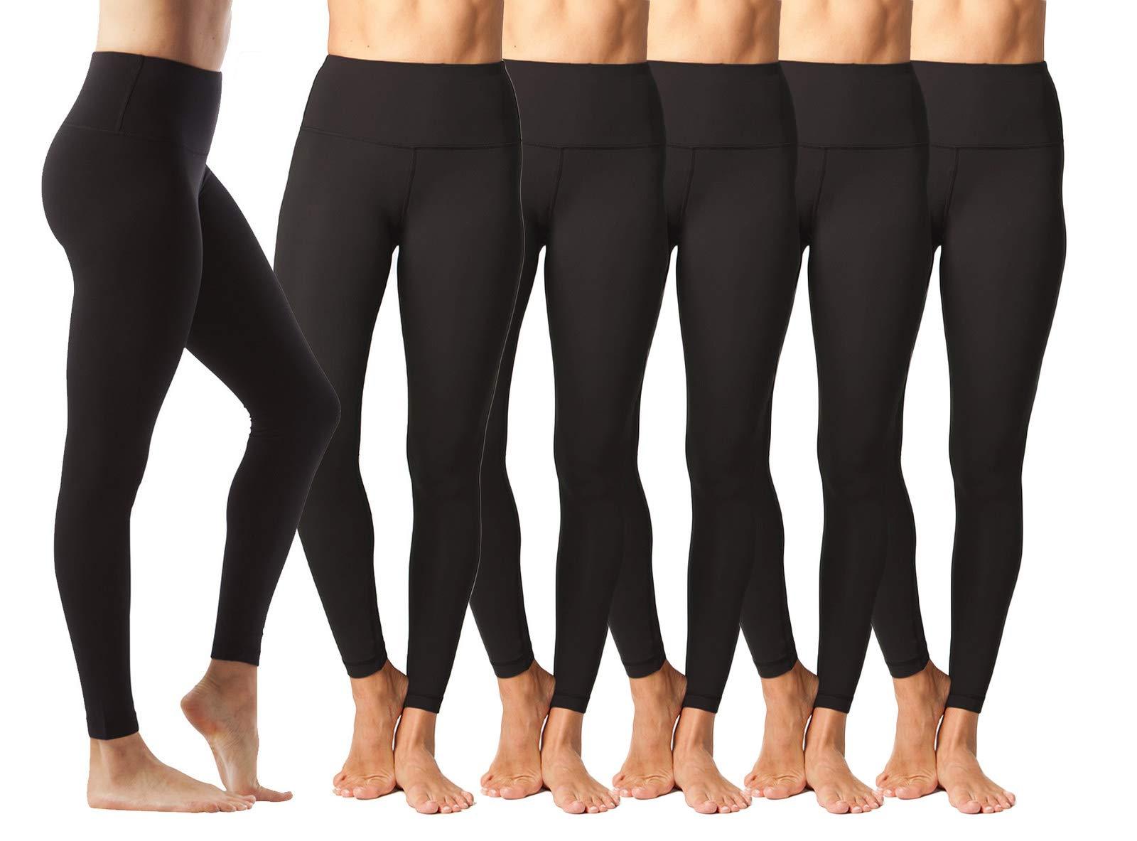 90 Degree By Reflex - High Waist Power Flex Legging – Tummy Control - Black 6 Pack - Large