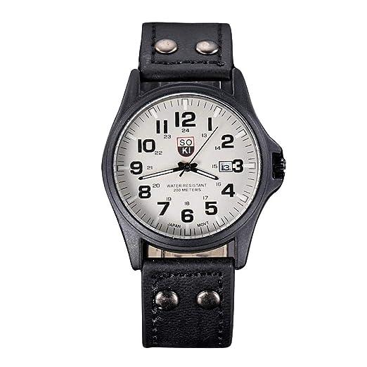 Cebbay Reloj Deportivo de Cuarzo para Hombre.Correa de Cuero Reloj Militar Retro clásico y Resistente al Agua Casual de Negocios (Negro): Amazon.es: Relojes