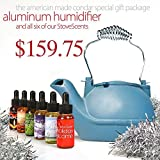 Holiday Package (HK-BL6) – Glacier Blue Cast Aluminum Half-Kettle Steamer with Chrome Handle and SIX Stove Scents