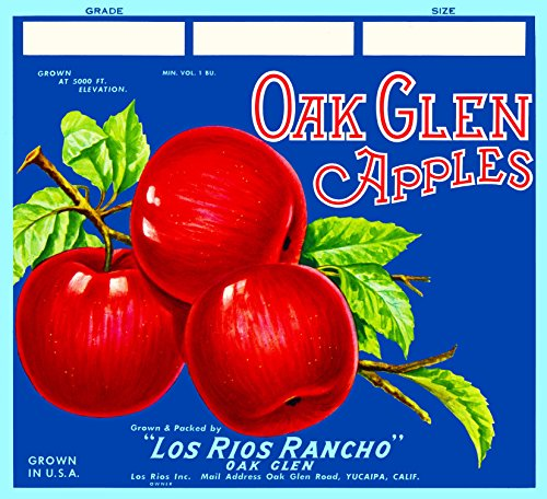 Apple Crate Label Art - A SLICE IN TIME Yucaipa California Oak Glen - Blue Version Apple Fruit Crate Label Art Print