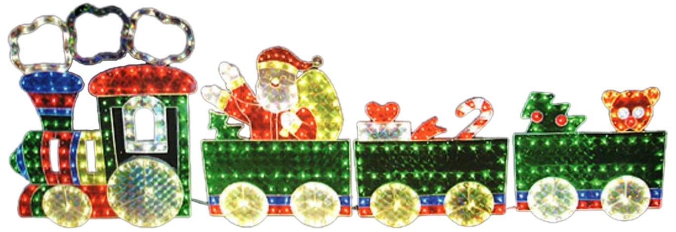 LB International 4-Piece Holographic Lighted Motion Train Set Christmas Yard Art Decoration 8.5'