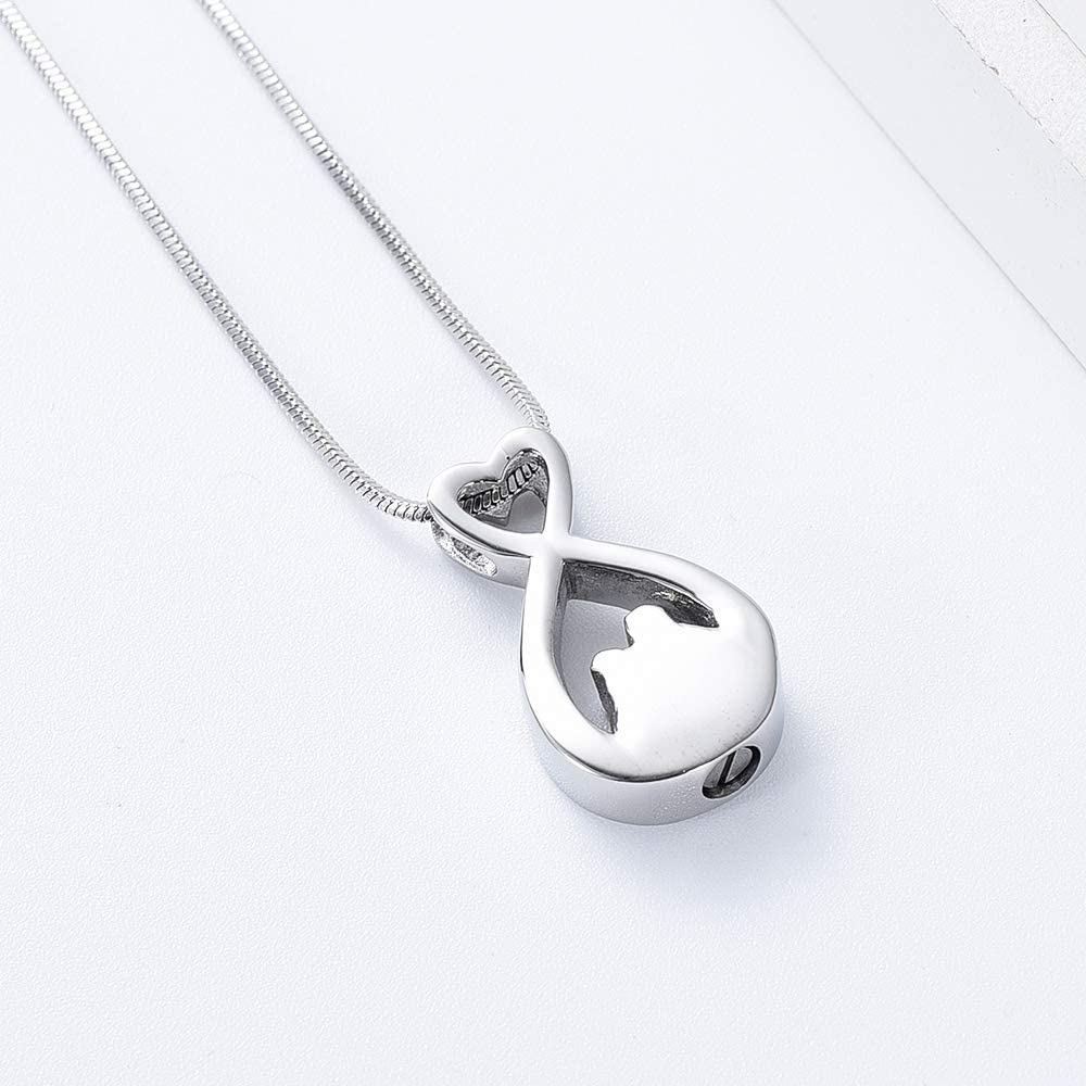 Minicremation Infinify Urn Cremation Jewelry for Ashes Stainless Steel Urn Pendant Necklace Ashes Holder Keepsake Memorial Jewelry