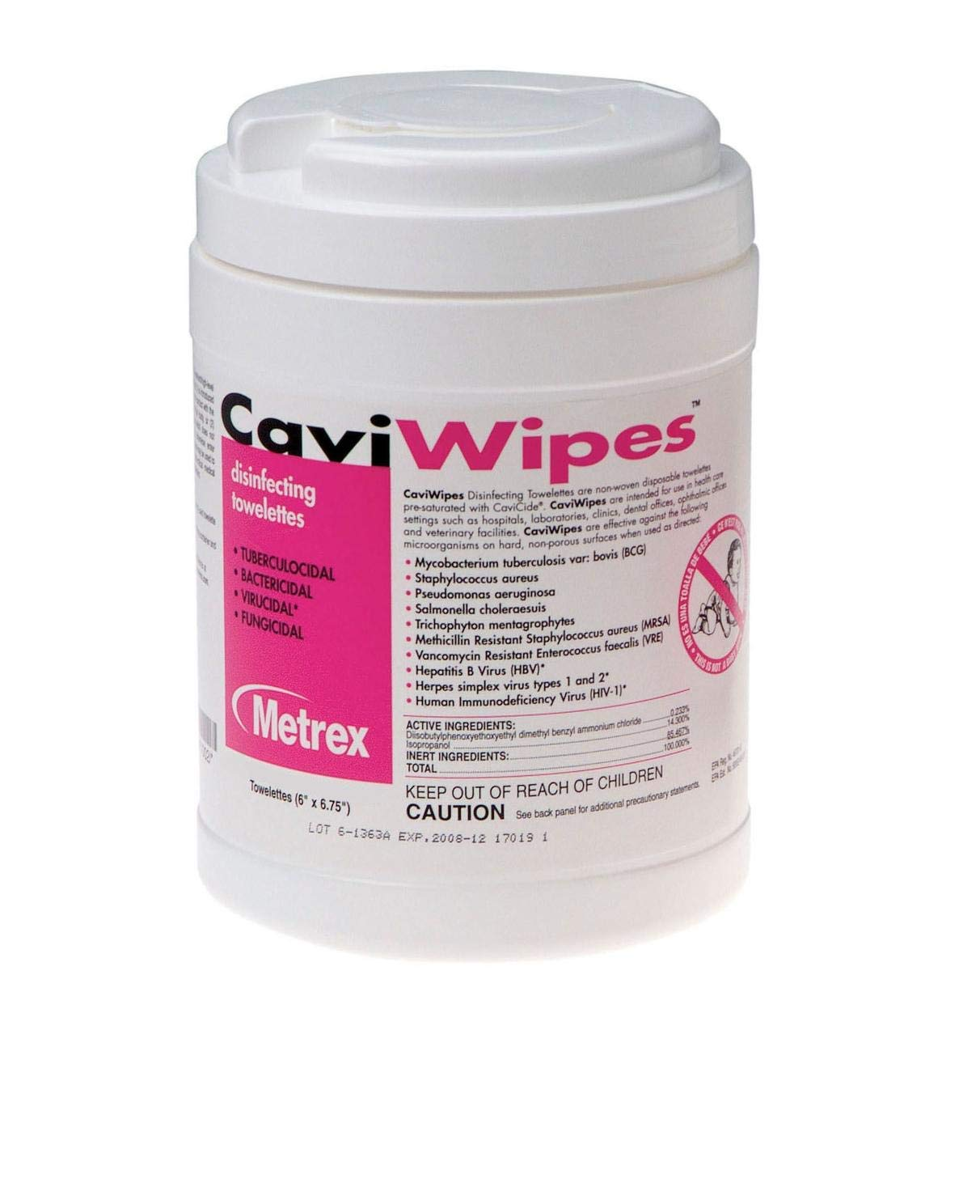 Metrex (Cavicide) CaviWipes Disinfecting Towelettes - 220 wipes per Canister/ 12 Canisters per Case