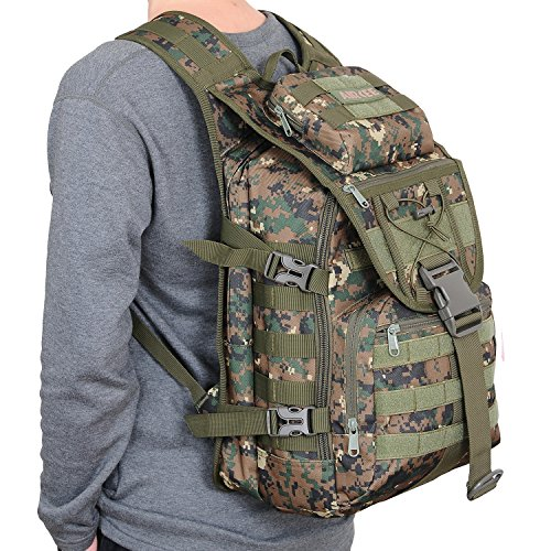 Aircee (TM) 40L Outdoor Gear Assault 3P Backpack Small Tactical Molle TAD Backpack Waterproof Travel Daypack Military Rucksacks (Jungle Digital Camo)