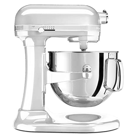 KitchenAid KSM7586PFP 7-Quart Pro Line Stand Mixer Frosted Pearl White  (Renewed)