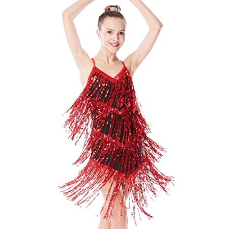 8c1d2d920 MiDee Girl Sequin Tassels Latin Dress Ballroom Dancing Costume (LA, Red)