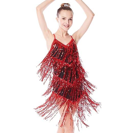 ef1f682c34ca Amazon.com: MiDee Girl Latin Costume Dress Ballroom Dancing Camisole Sequin  Tassels: Clothing