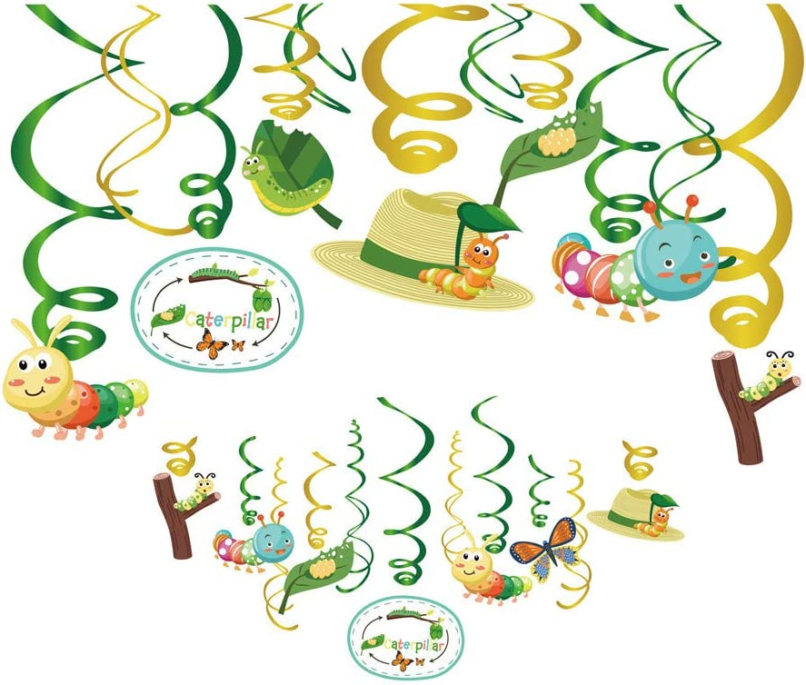 Kristin Paradise 30Ct Very Hungry Caterpillar Hanging Swirl Decorations, Spring Party Supplies, Birthday Theme Decor for Boy Girl Birthday Baby Shower Classroom, Kids 1st Bday Favors