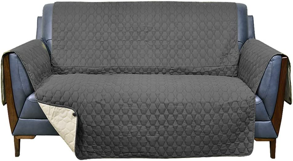 RBSC Home 46 Inch Loveseat Cover 100% Waterproof Slipcovers Anti-Slip Couch Covers for Leather Loveseat Slipcovers for Pets Dog Cats Washable Protector(46