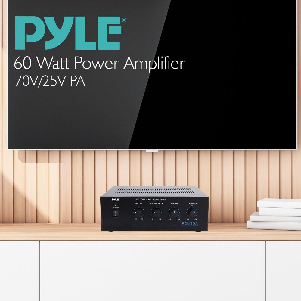 Pyle Pcm30a 60 Watts Power Amplifier With 25 And 70 Volt How To Build 60w 8 Output Home Audio Theater