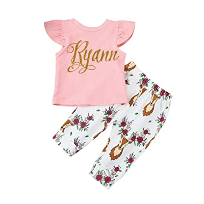 Iuhan Baby Girl Short Sleeve Letter Print Tops+Deer Pants Outfits Newborn Clothes Set