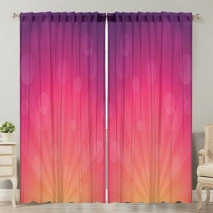 Moslion Window Curtain Orange Pink Ombre Inspired Background Purple Pink  Orange Window Curtains/Panels for Bedroom/Living Room Satin Drapes Light ...