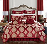 Chic Home Cipriana 13 Piece Comforter Set Jacquard Scroll Faux Silk Bed in a Bag Bedding with Pleated Flange - Sheets Bed Skirt Decorative Pillows Shams Included, Queen Red