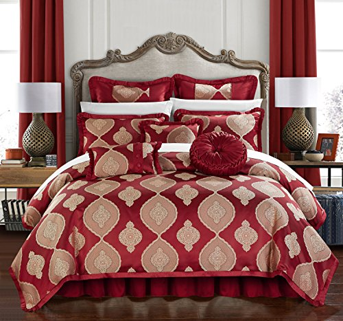 Chic Home Cipriana 9 Piece Comforter Set Jacquard Scroll Faux Silk Bedding with Pleated Flange - Bed Skirt Decorative Pillows Shams Included King Red