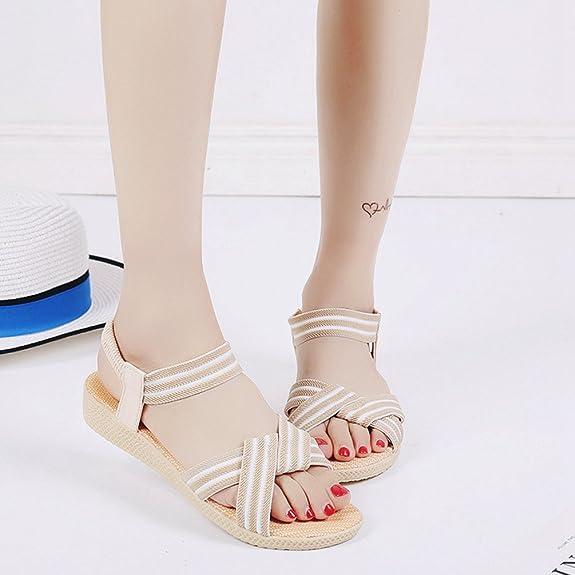 LvRaoo Donna Slingback Sandali da Spiaggia Comfort Peep-Toe Slippers Cinturino Elastico Pantofole (Beige, Asia 39)
