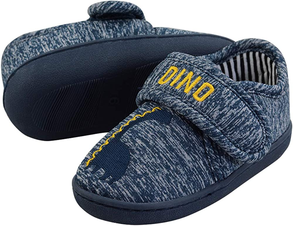 LA PLAGE Toddler//Little Kid Slouch Slippers Cotton Suede Anti-Slip House Shoes