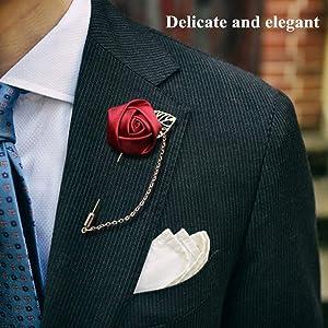 Pin de solapa de satén hecho a mano con diseño de rosas, para ...