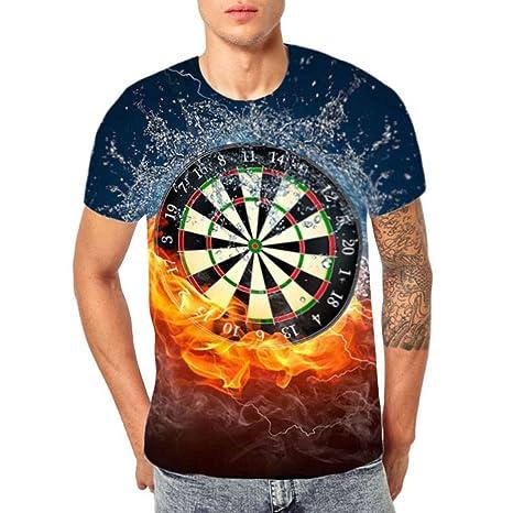 76258327d0 Birdfly Unique 3D Dart Board Pattern Cool Men Shirt Tops Blouse ...