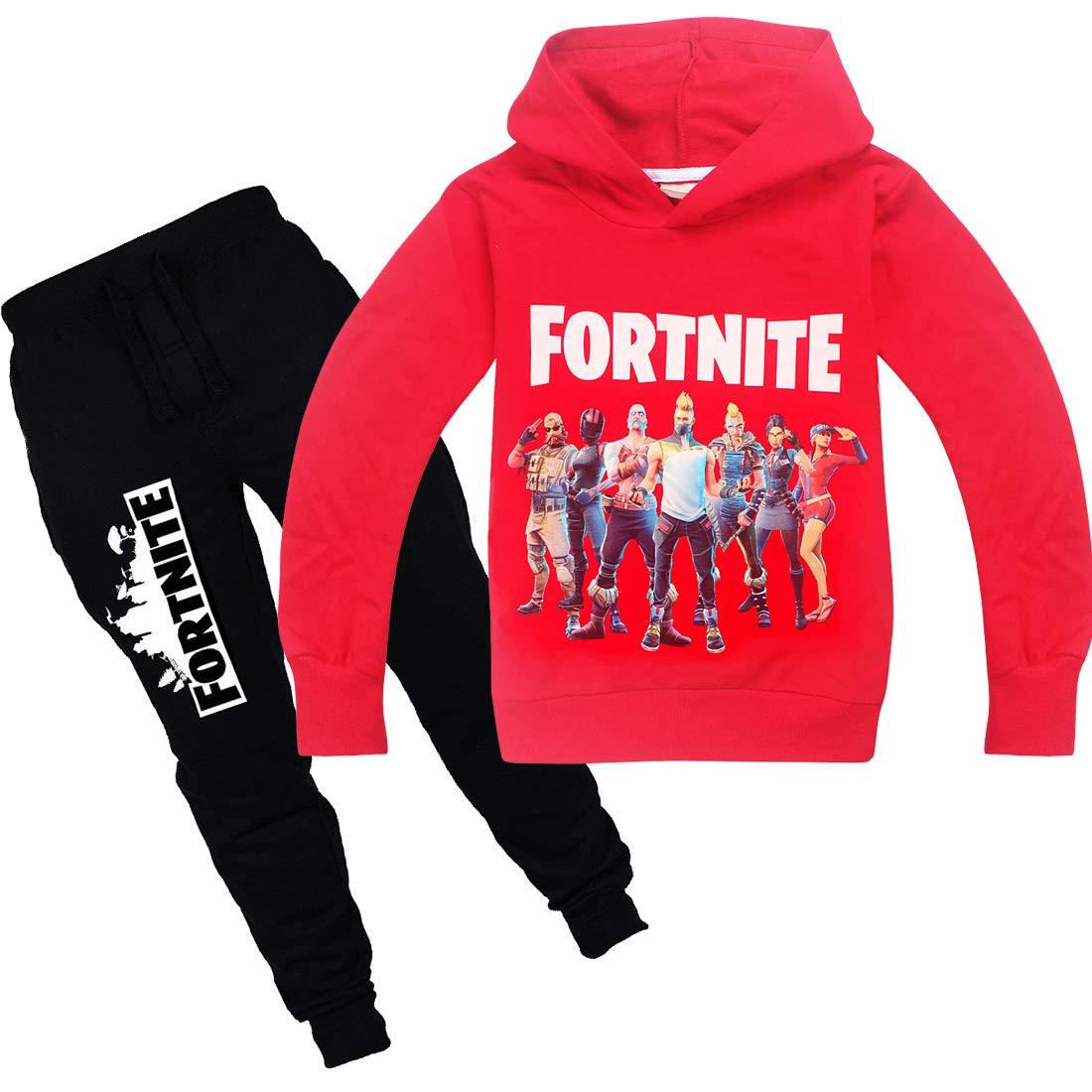 Wazonton Fortnite Games Hoodies Set with Long Pants Boys Girls Unisex Sweatshirt