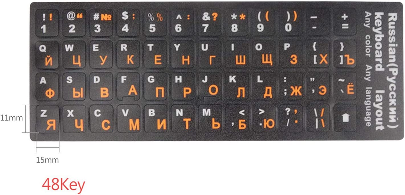 4Pcs Russian Keyboard Stickers Paster Tags Strong Viscosity Russian Keyboard Cover Alphabet Layout Pc Keycaps Sticker Waterproof-One/_Color