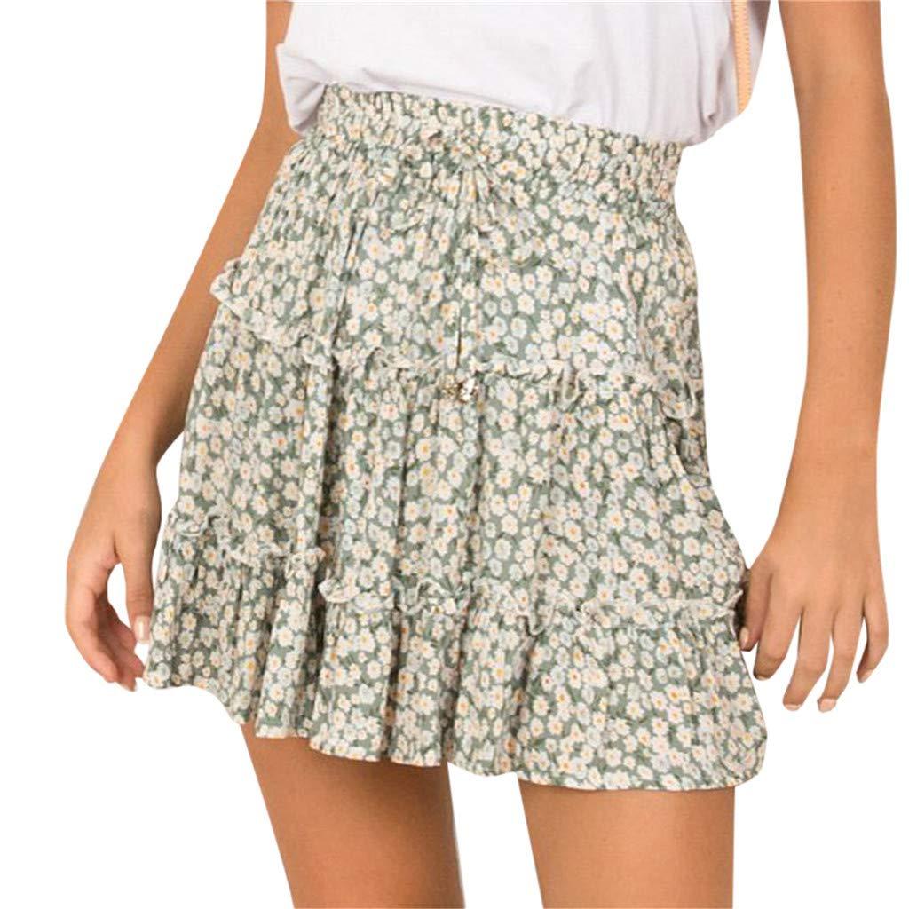 BAOHOKE Summer Women's Sweet Beach Floral Printed Elastic Waist Pleated Drawstring Short Skirts(Green,XXL)