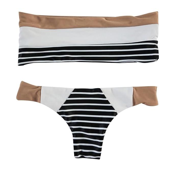 PAOLIAN Trajes de baño de Dos Piezas Bikini Sexy Mujer Verano 2018 Ropa de Playa Bañador Impreso Rayas Tankinis señora Bandeau Heuco Costura Ropa de baño ...
