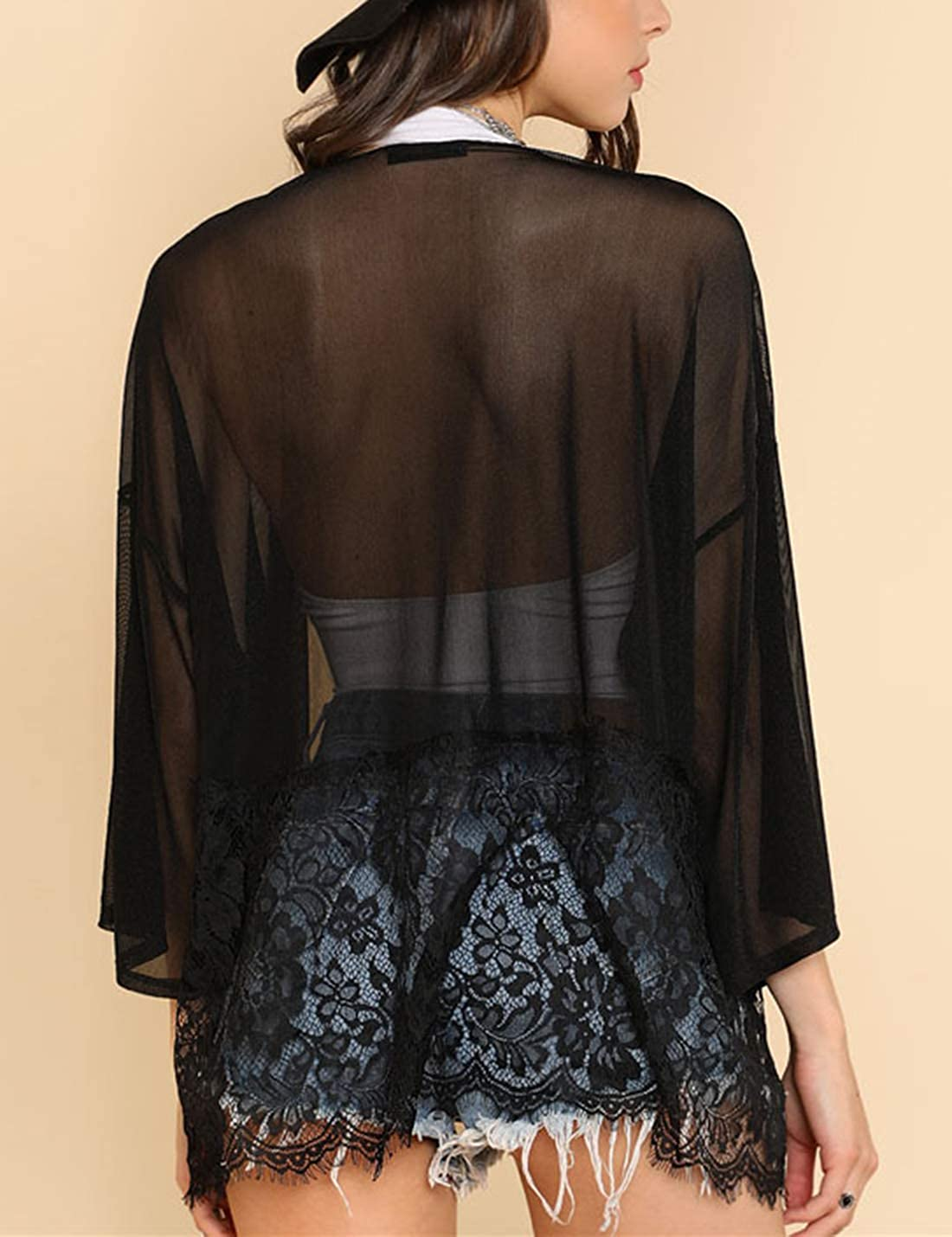 Uaneo Womens Loose Lightweight Open Front 3//4 Sleeve Lace Chiffon Cover Ups