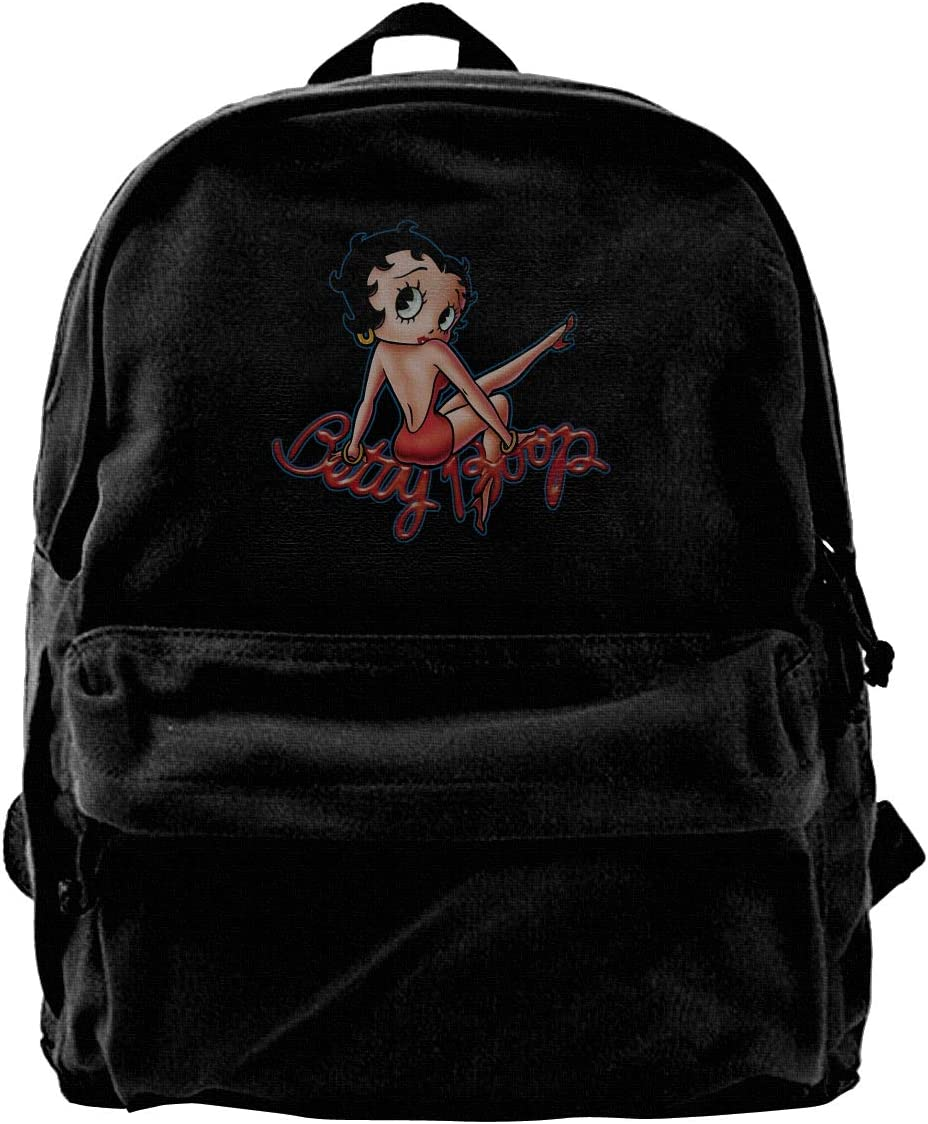 Betty Boop Unisex Canvas School Bag Laptop Book Bag Satchel Hiking Bag Backpack