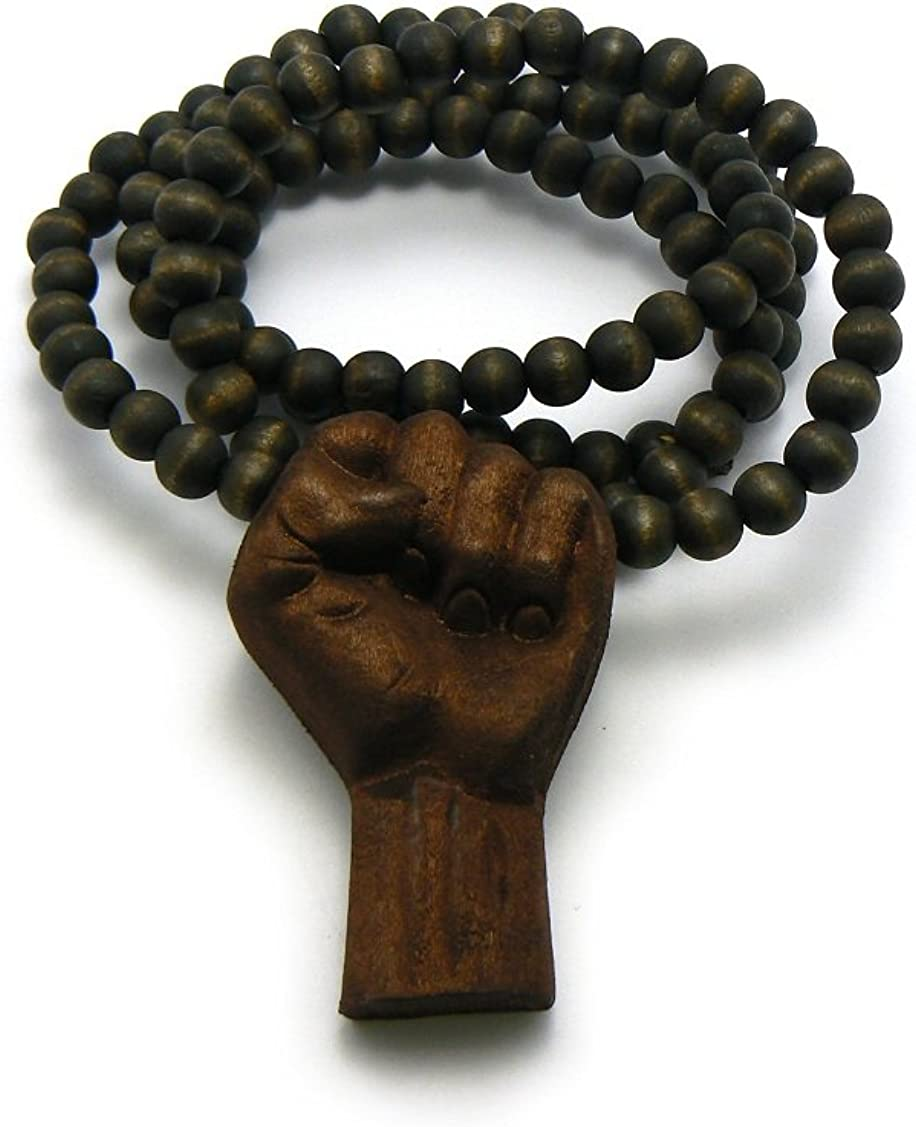 "NYFASHION101 3D Raised Fist Wood Pendant 36"" Wooden Bead Chain Necklace"
