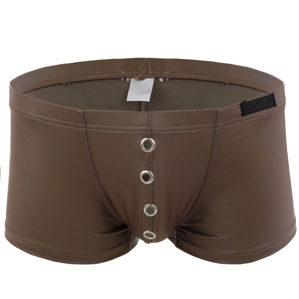 CHICTRY Mens Faux Leather Underwear with Metal Holes Pouch Bikini Boxer Briefs