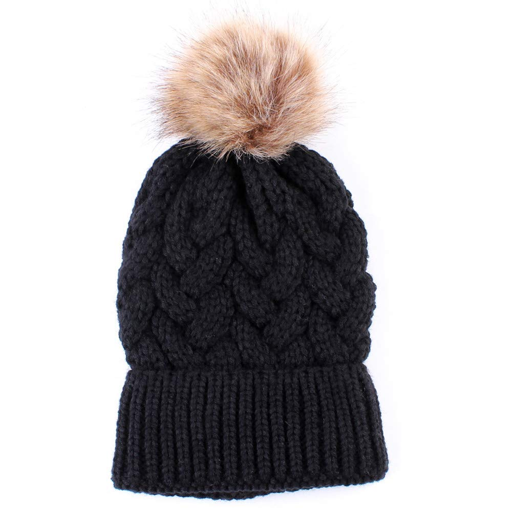 Clearance! Teresamoon Women Fashion Keep Warm Winter Hats Knitted Wool Hemming Hat Teresamoon-Hats